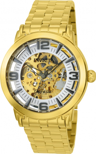 22599 Invicta Mens Objet D Art  Gold Band Silver Dial