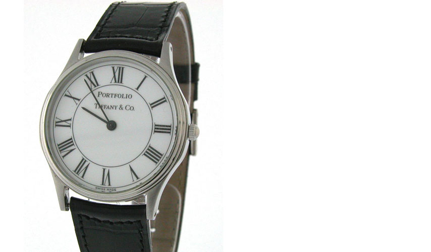 w033 Tiffany & Co Portfolio - Stainless Steel - Black Crocodile Strap/Roman Numberals - White Dial - Quartz - gem from US collector