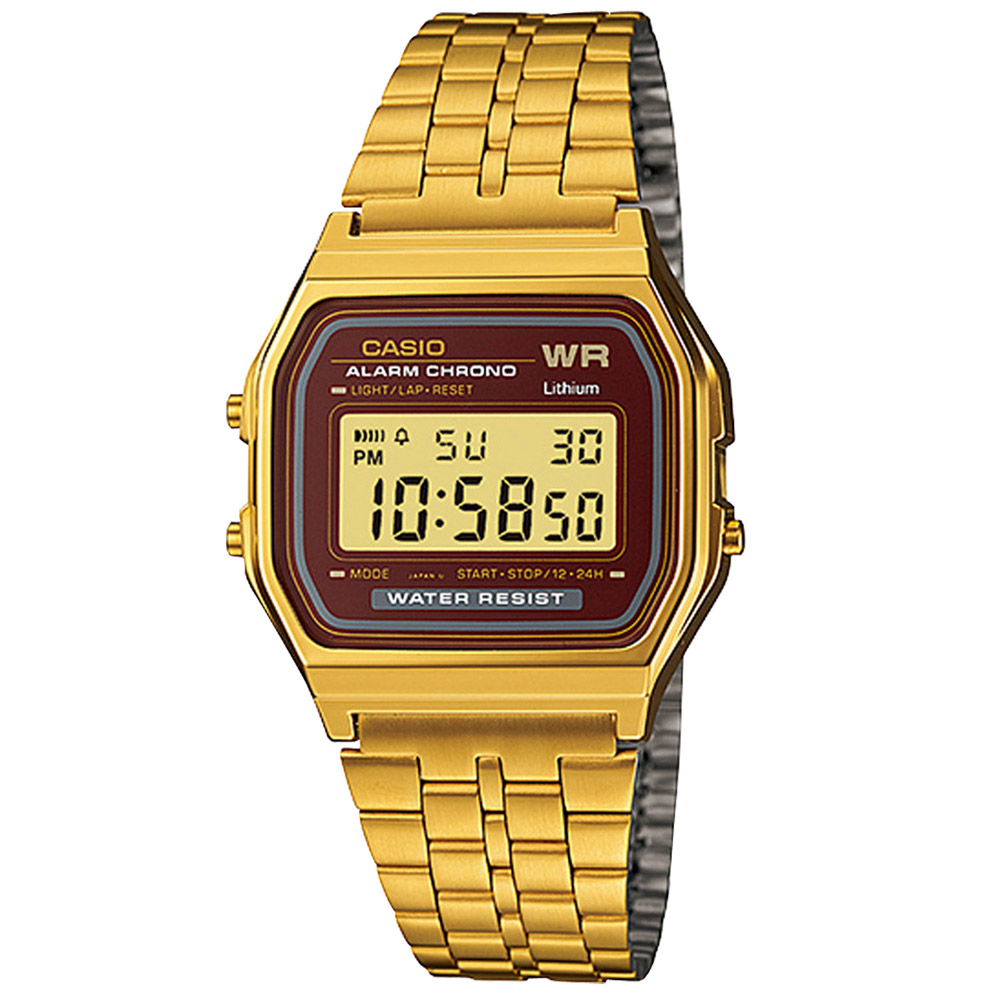 A-159WGEA-5DF Casio Mens Digital Gold Tone Band Digital Dial