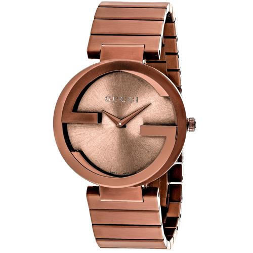 YA133211 Gucci Mens Interlocking YA133211 Quartz Brown Band BrownSun-brushed Dial