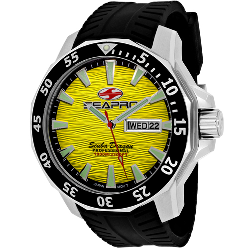 SP8313 Seapro Mens Scuba Dragon Diver Limited Edition 1000 Meters Quartz Black Band Yellow Dial