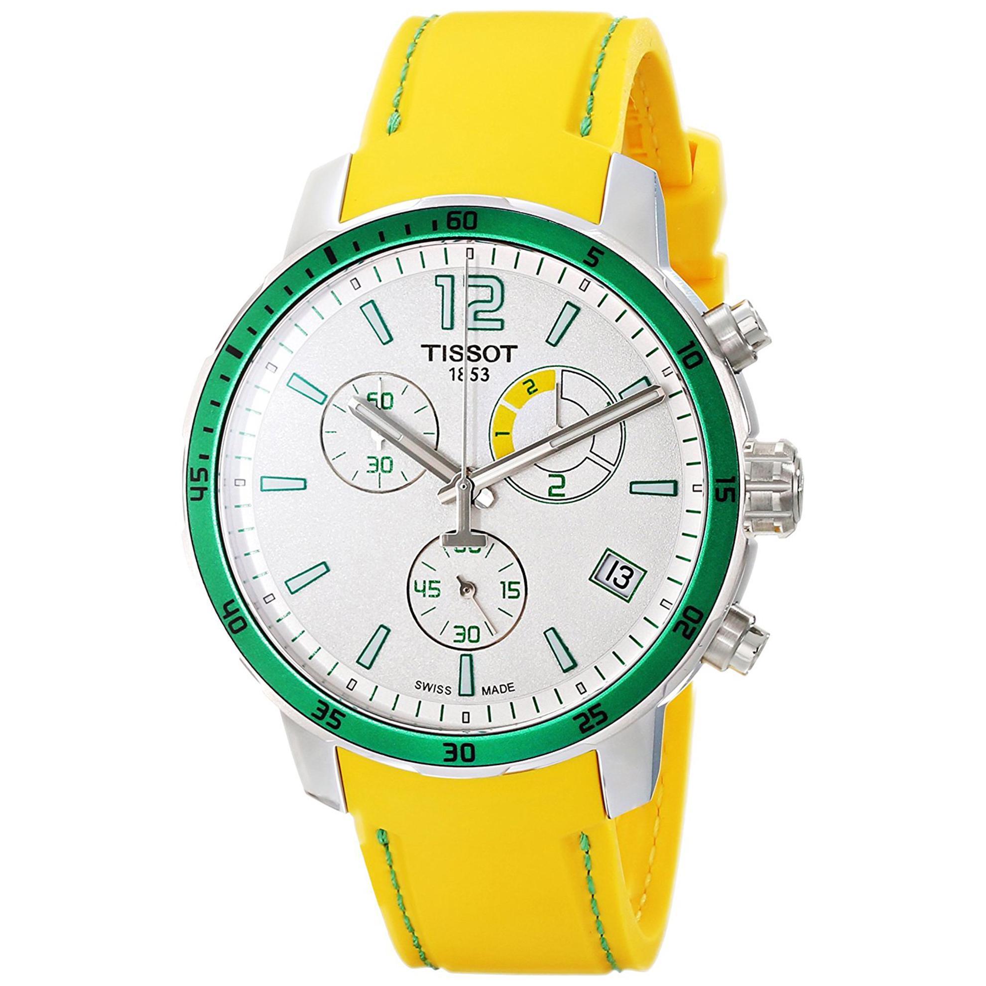 Tissot T0954491703701 Tissot Quickster Chronograph Green Bezel Silver Dial Yellow Strap