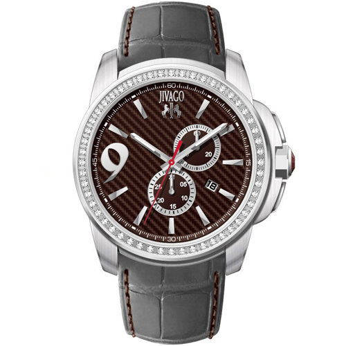 JV1536 Jivago Mens Gliese Grey Band Maroon Dial