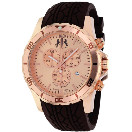 JV0122 Jivago Mens Ultimate Brown Band Rose gold tone Dial