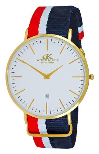 AK1225-MG Adee Kaye Mens Patriot Collection  quartz Gold tone White Band White Dial