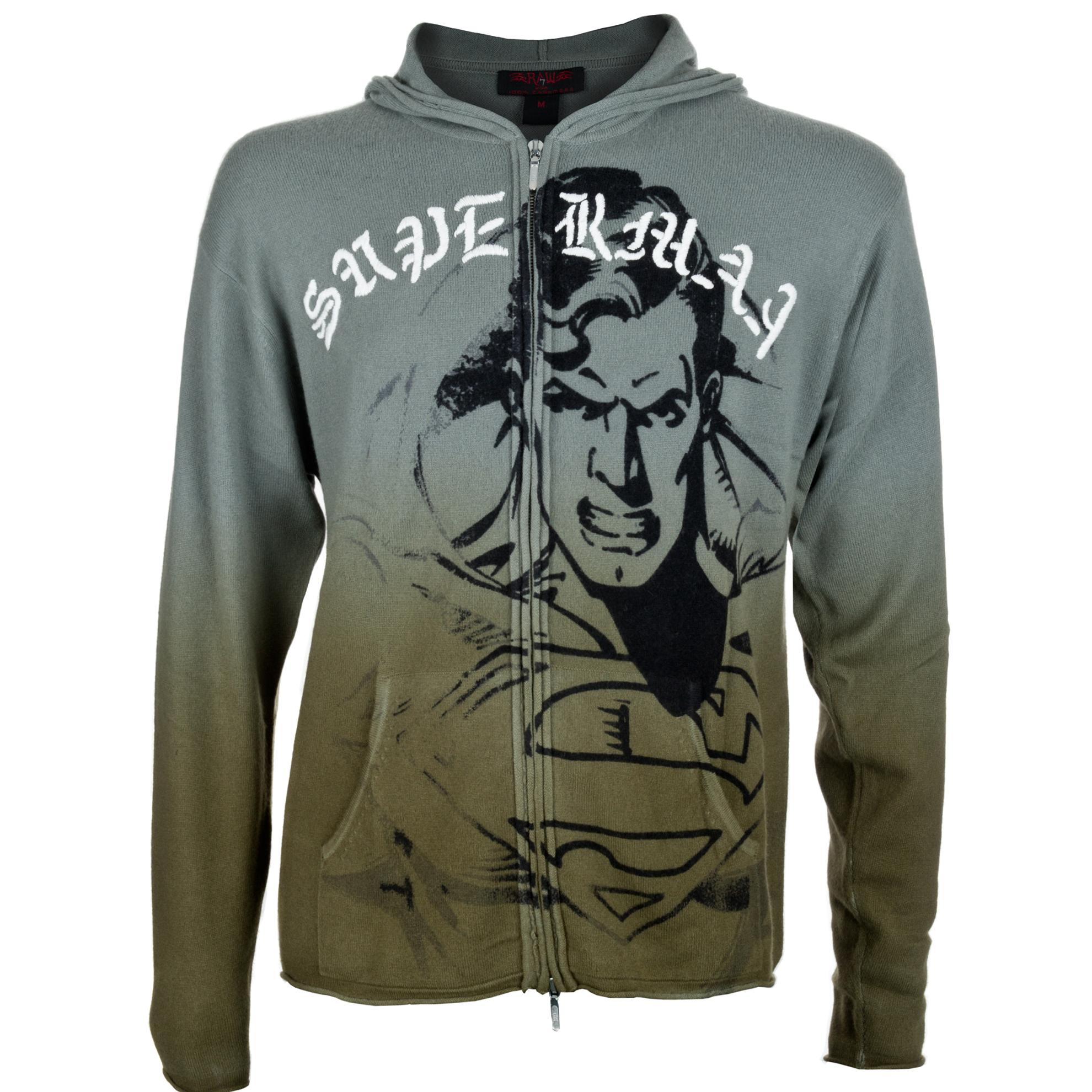 RAW 7 PCSH162-Superman-Metal RAW 7 Men's Zip 100% Cashmere Hoodie Superman Design Metal Color