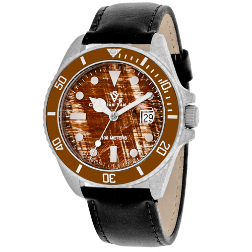 CV5101LB Christian Van Sant Mens Montego Vintage Quartz Black Band Brown Dial